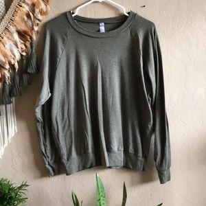Army green American apparel trio blend sweatshirt